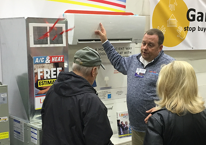 Talking to customers at a home show