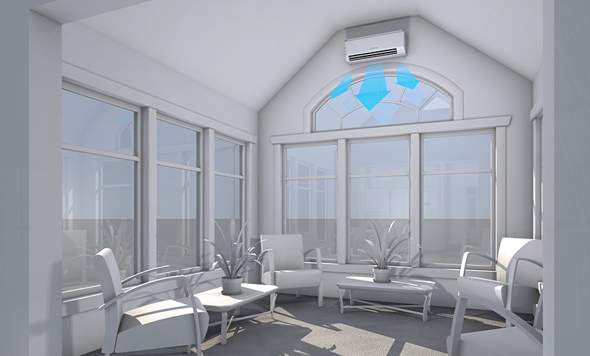 Mitsubishi ductless in sunrooms