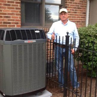 Customer with new heat pump system